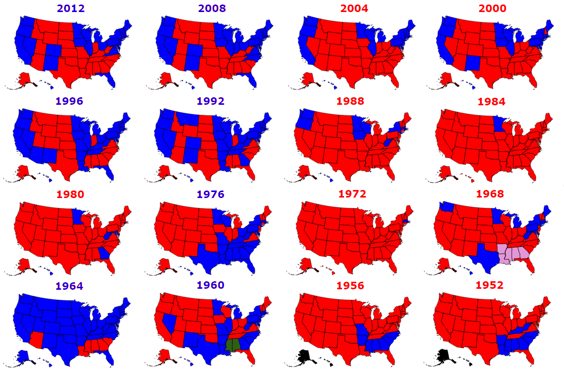 Map Of USA States Governors By Party Affiliation From To - Us map by electoral vote