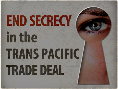 "What is the Trans-Pacific Partnership?: The Trans-Pacific Partnership n. 1. A ""free trade"" agreement that would set rules on non-trade matters such as food safety, internet freedom, medicine costs, financial regulation, and the environment. 2. A binding international governance system that would require the United States, Australia, Brunei, Canada, Chile, Japan, Malaysia, Mexico, New Zealand, Peru, Singapore, Vietnam, and any other country that signs on to conform their domestic policies to its rules.  3. A secret trade negotiation that has included over 600 official corporate ""trade advisors"" while hiding the text from Members of Congress, governors, state legislators, the press, civil society, and the public."