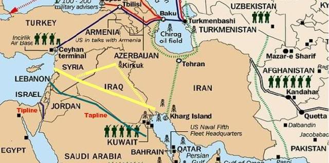 Iran iraq syria pipeline phil ebersoles blog yellow lines show proposed pipeline route gumiabroncs Images
