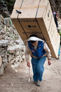 Refrigerator delivery to base camp on Everest