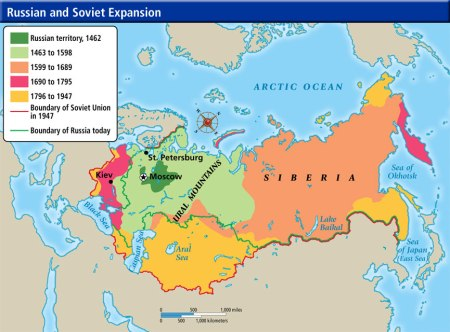 Historical Map of Russia and the USSR.  Click to enlarge.