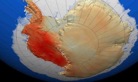West Antarctic shown in red.  Source: The Guardian