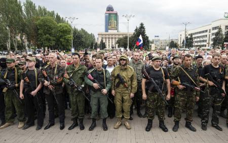 Pro-Russian separatists in Donetsk.  Source: NBC News