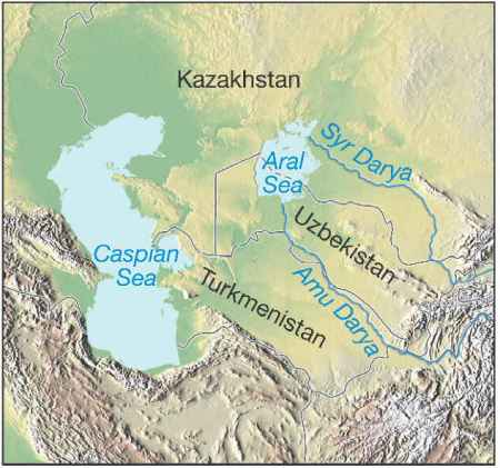 The Aral Sea and the rivers that feed it