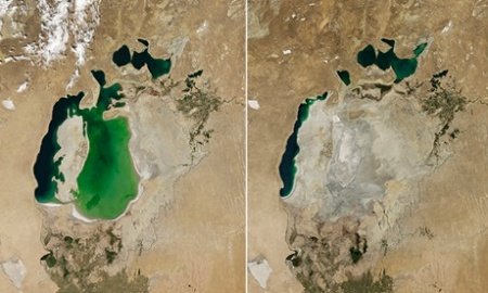 Aral Sea in 2000 and in 2014