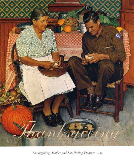 1945-thanksgiving-mother-and-son-peeling-potatoes
