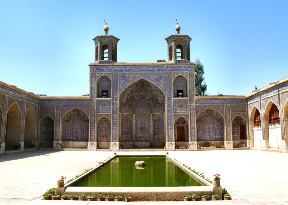 Courtyard of Nasir al Mulk mosque in Shiraz, Iran