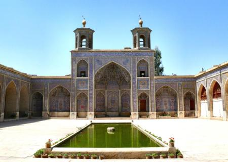 Courtyard of Nasir al Mulk mosque in Shiraz, Iran