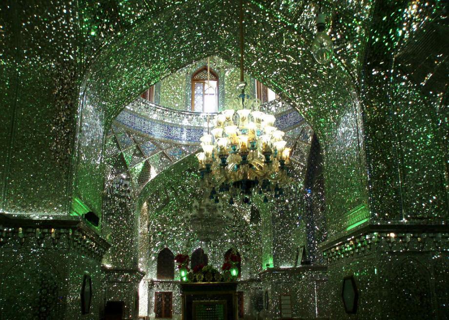 Interior of Shah Cheragh mosque in Shiraz, Iran