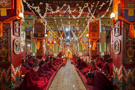 Monks in Kandze monastery in Ganzi, China