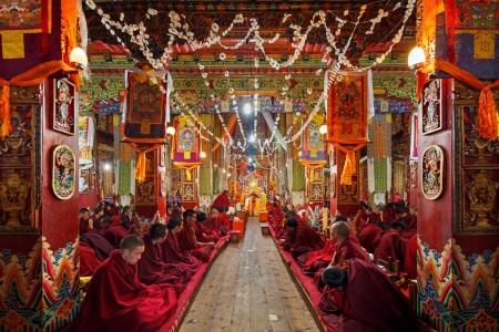 Monks in Kandze monastery in Ganzi, China