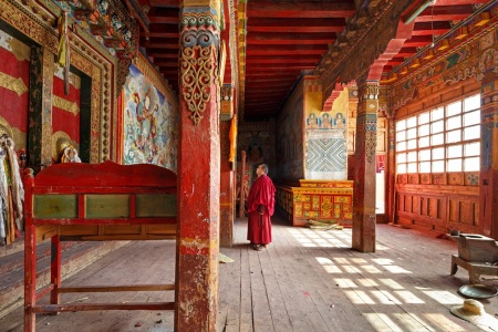 Temple entrance in Gola Gompa in Sichuan, China