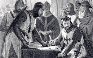 King John reluctantly signs the Magna Carta