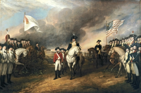Lord Cornwallis surrenders to French and Americans at Yorktown
