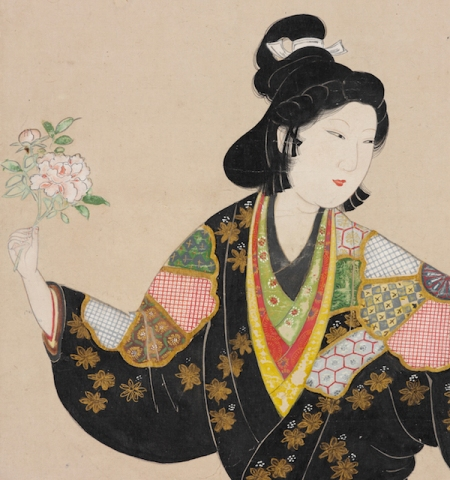 Beauty of the Kanbun era, approx. 1660–1680. Japan; Edo period (1615-1868). Hanging scroll; ink, colors, and gold on paper. John C. Weber Collection. Image © John Bigelow Taylor.