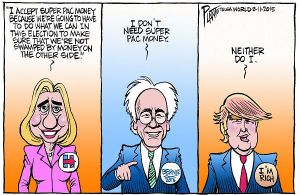 Bruce Plante Cartoon: Hillary, Bernie and Trump