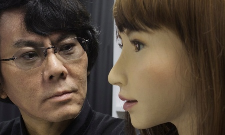 Hiroshi Ishaguro with Erica, his latest humanoid robot