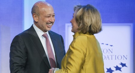 Goldman Sachs CEO Lloyd Blankfein and Hillary Clinton at a Clinton Global Initiatives meeting in 2014