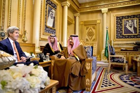 Secretary of State John Keller with King Salman bin Abdulazziz