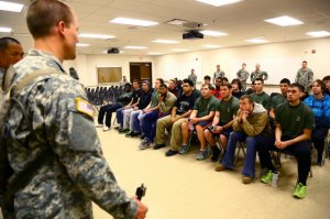Recruiters and potential enlistees at Fort Sill, OK