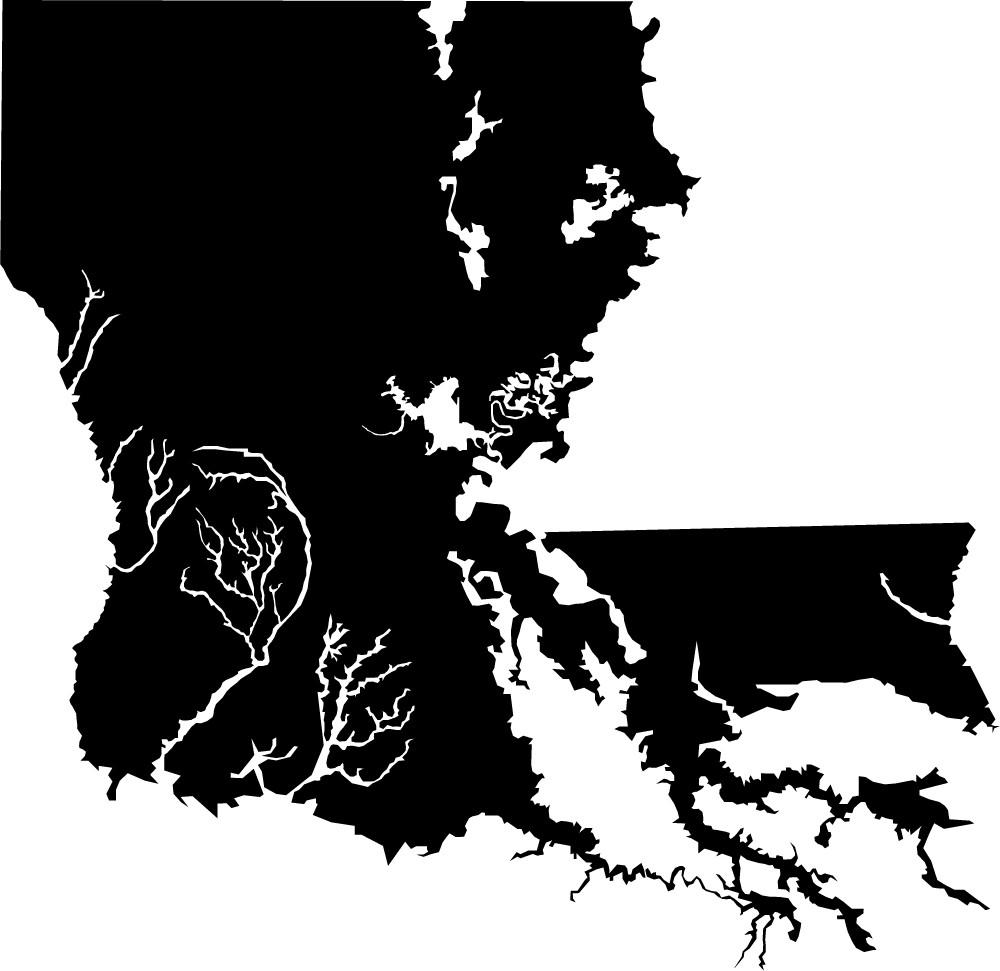 Walkable, inhabitable land area of Louisiana