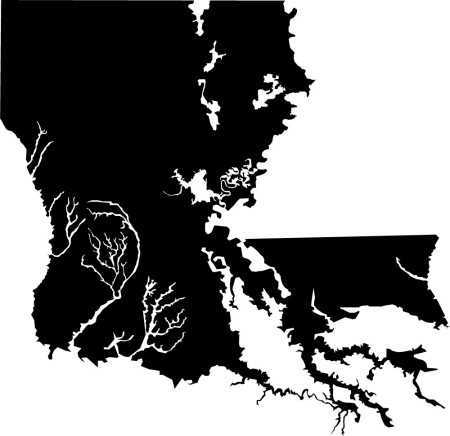 Walkable, inhabitable land area of Louisiana